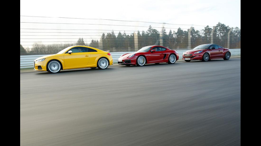 Audi TTS, Peugeot RCZ R, Porsche Cayman GTS, Seitenansicht