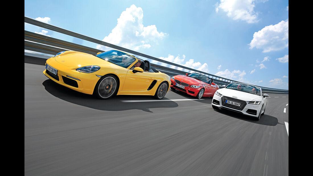 Audi TTS Roadster 2.0 TFSI, BMW Z4 sDrive 35i, Porsche 718 Boxster