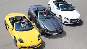 Audi TTS Roadster, Mercedes-AMG SLC 43, Porsche 718 Boxster, Frontansicht