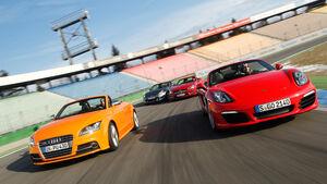Audi TTS Roadster, Mercedes SLK 350, Nissan 370Z Roadster, Porsche Boxster S, Frontansicht