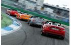 Audi TTS Roadster, Mercedes SLK 350, Nissan 370Z Roadster, Porsche Boxster S, Heckansicht
