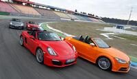 Audi TTS Roadster, Mercedes SLK 350, Nissan 370Z Roadster, Porsche Boxster S, Seitenansicht