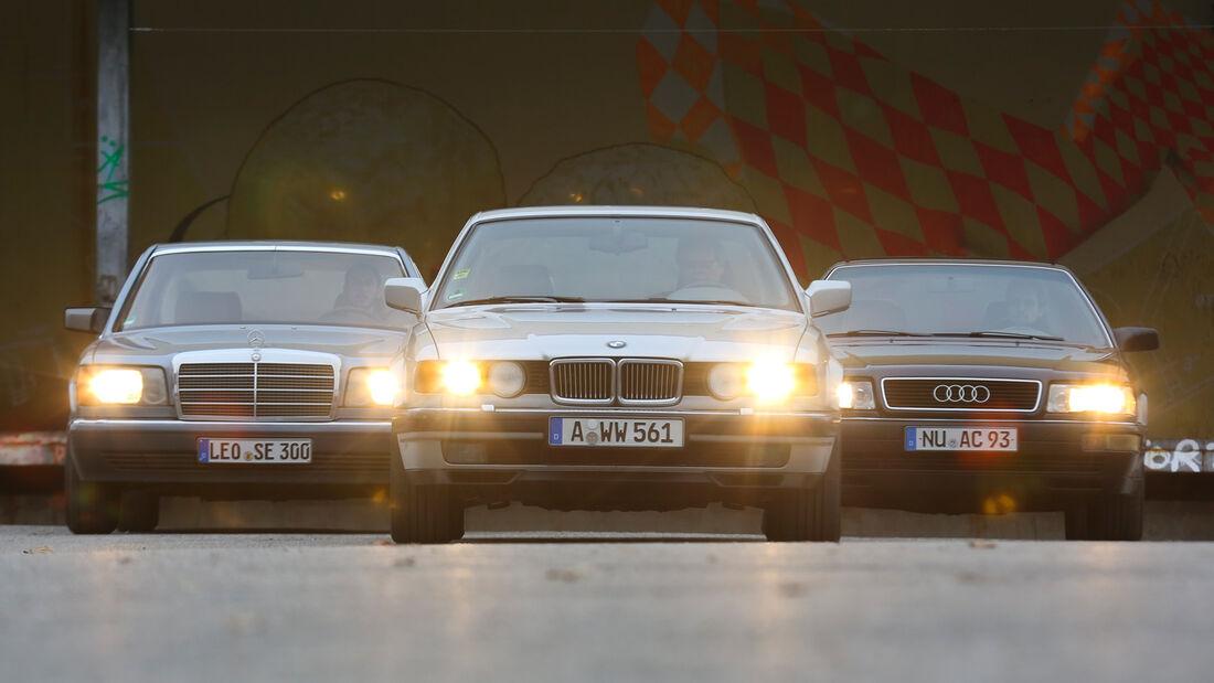 Audi V8, BMW 740i, Mercedes 420 SE, Frontansicht