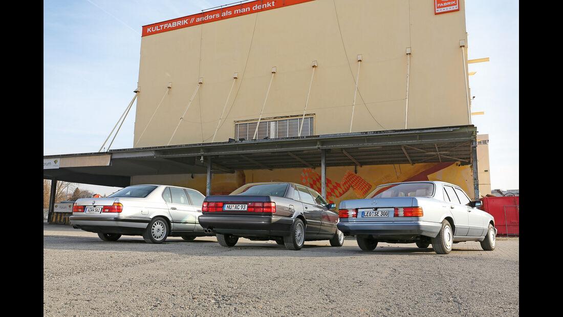 Audi V8, BMW 740i, Mercedes 420 SE, Heckansicht