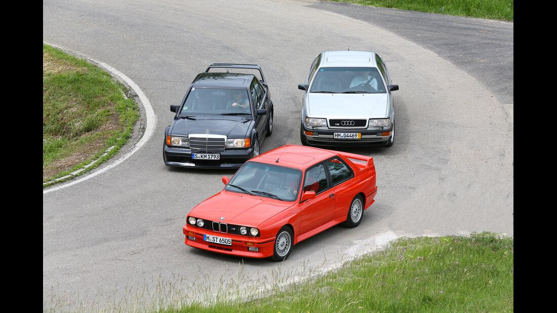 Audi V8, BMW M 3, Mercedes 190 E 2.5-16 Evo II, Frontansicht