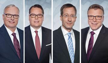 Audi Vorstände Hubert Waltl, Dietmar Voggenreiter, Axel Strotbek, Thomas Sigi