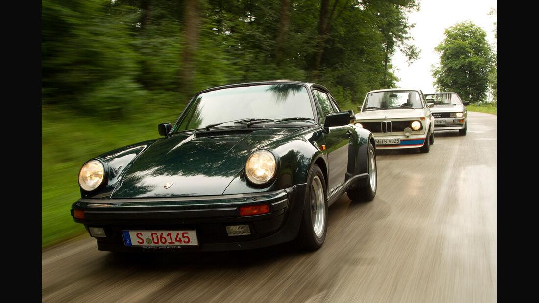 Audi quattro, Porsche 911 turbo 3.3, BMW 2002 turbo, Frontansicht