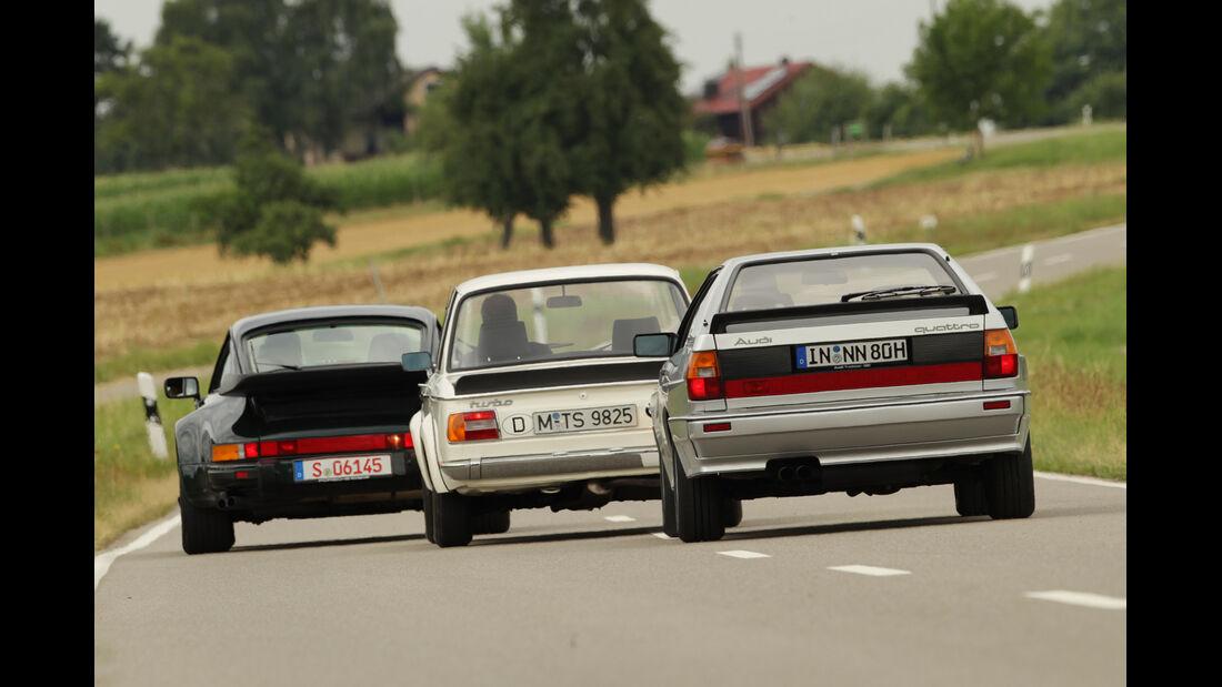 Audi quattro, Porsche 911 turbo 3.3, BMW 2002 turbo, Heckansicht