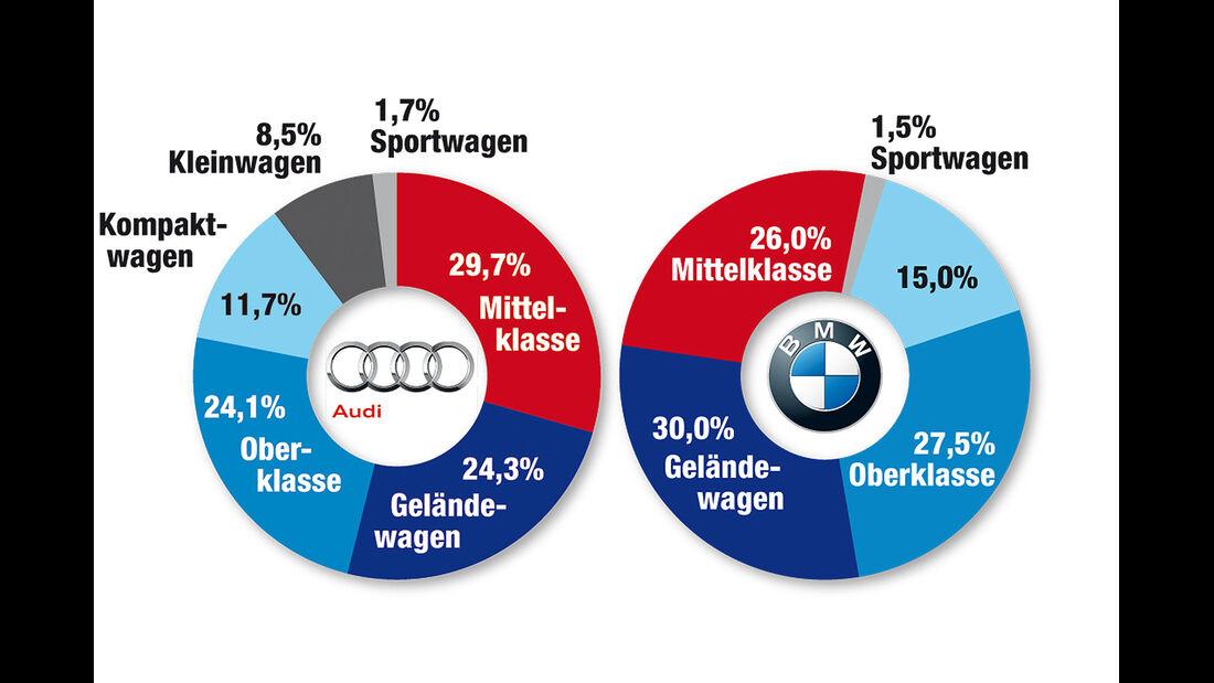 Audi und BMW Anteile in Segmenten