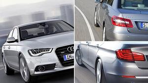 Aufmacher BMW 5er, Audi A6, Mercedes E-Klasse