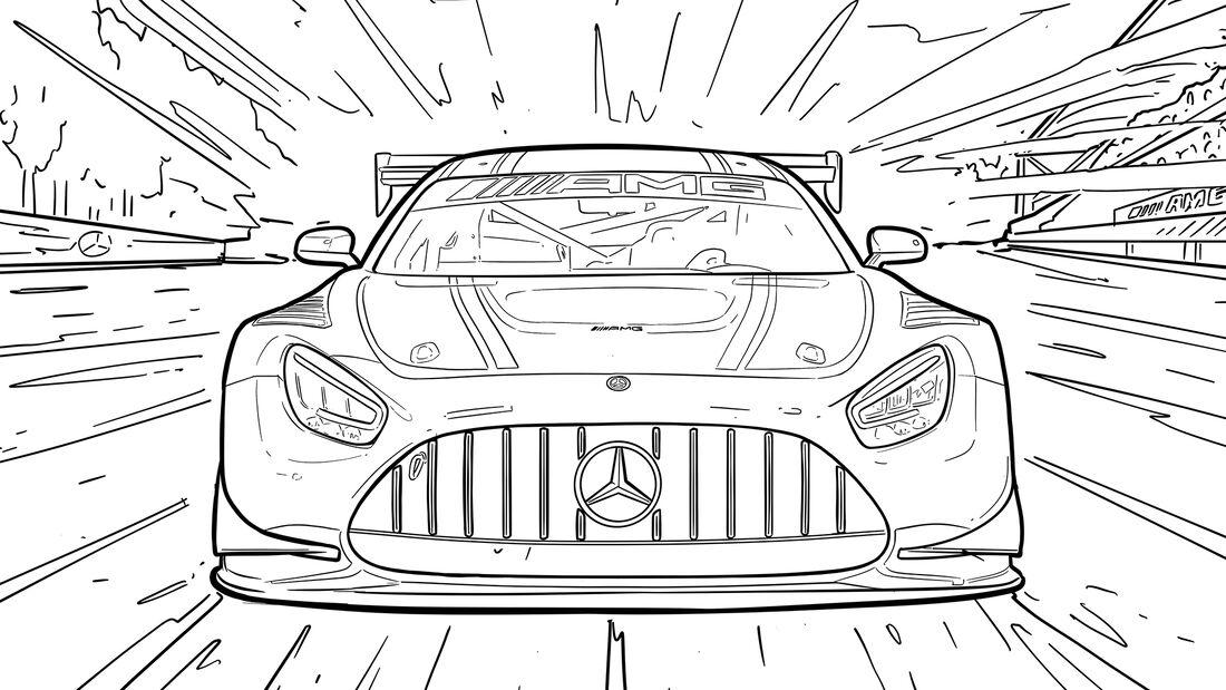 Ausmalbilder Corona Autos Mercedes-AMG GT3