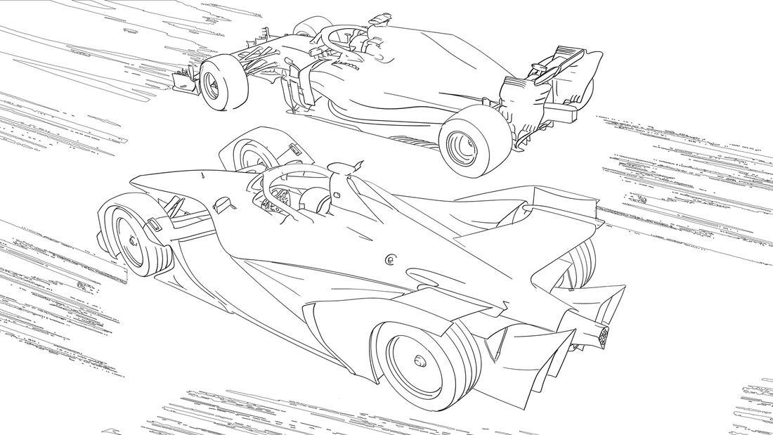 Ausmalbilder F1- und Formel-E-Renner von Mercedes