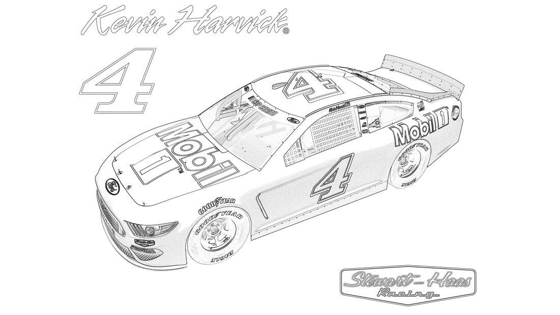 Ausmalbilder Nascar-Renner vom Stewart-Haas-Team.