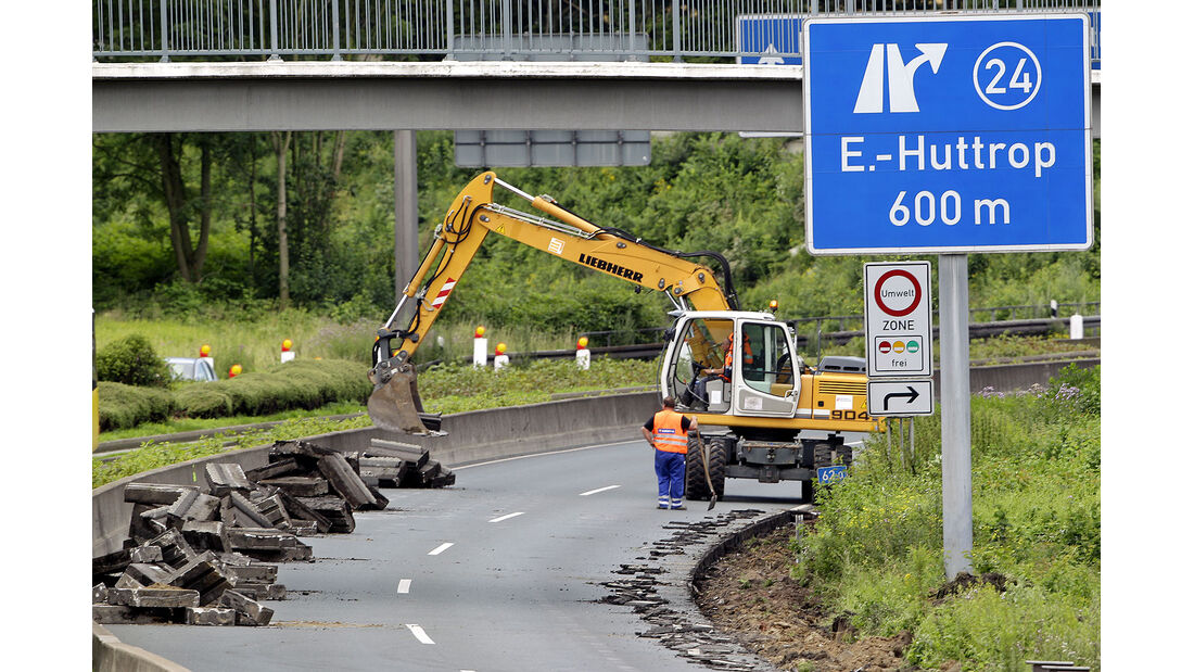 Autobahn, A40, Vollsperrung, baustelle