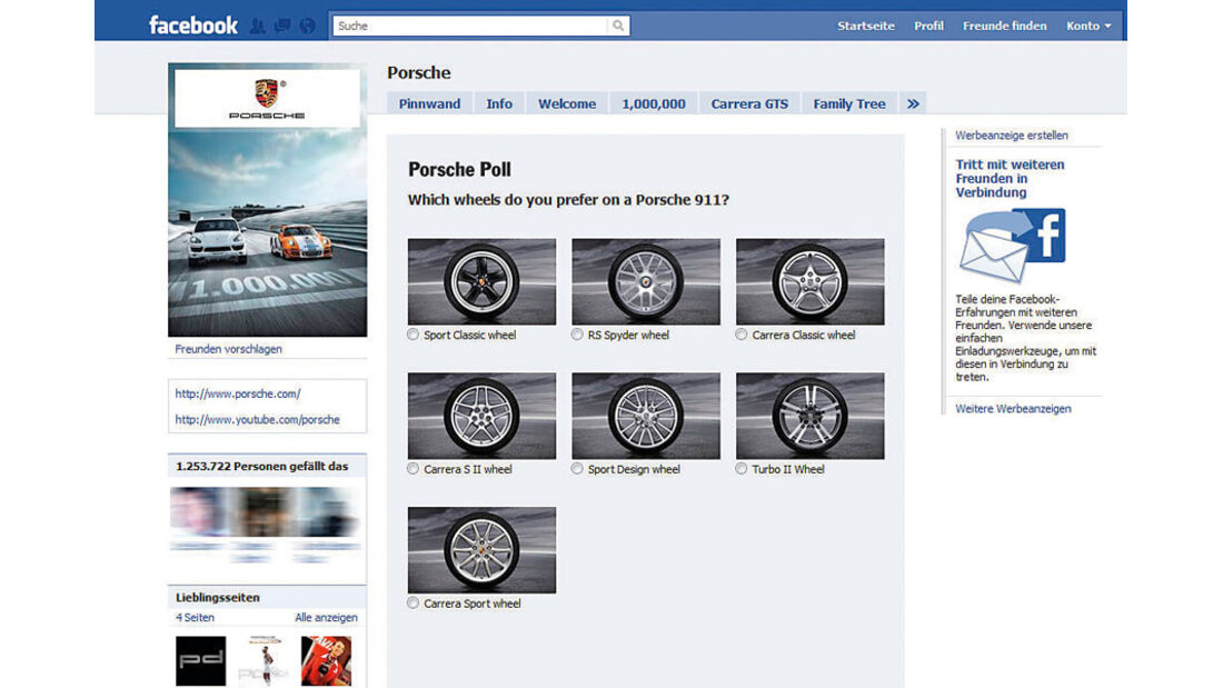 Autohersteller auf Facebook, Porsche