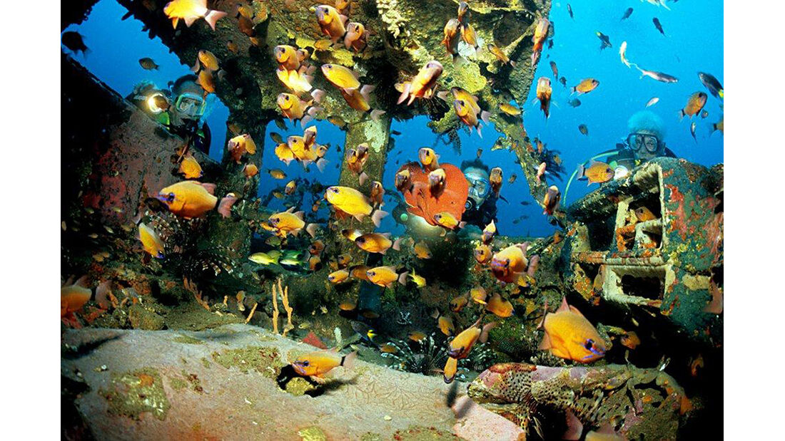 Autowracks unter Wasser