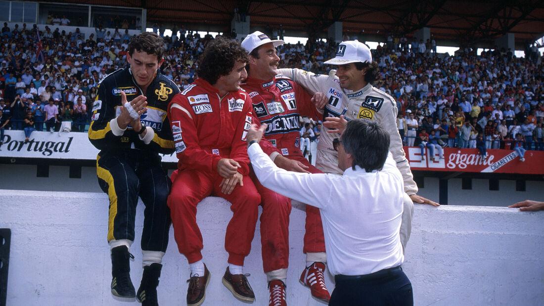 Ayrton Senna - Alain Prost - Nigel Mansell - Nelson Piquet - Bernie Ecclestone - GP Portugal 1986
