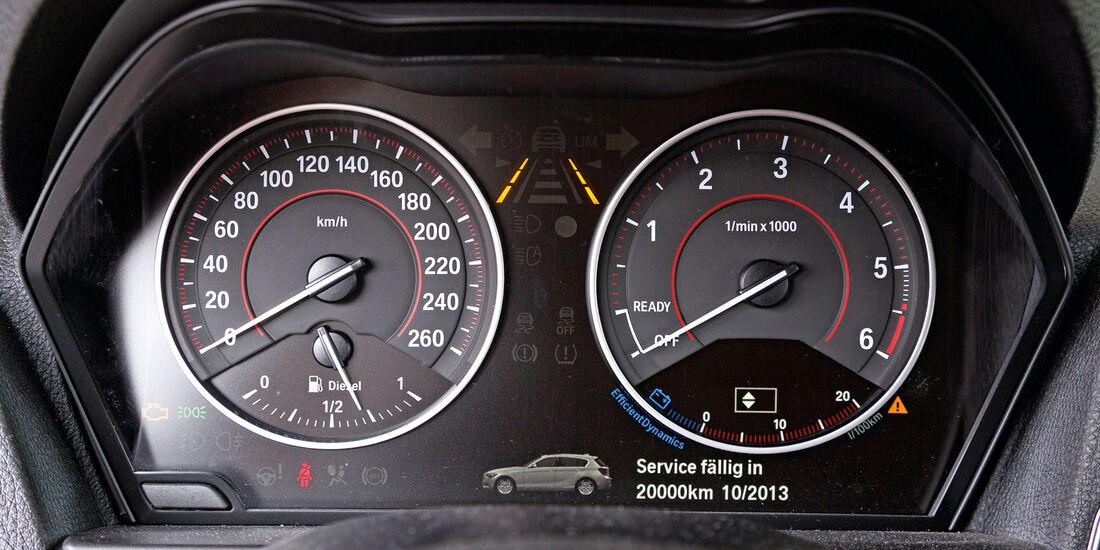 BMW 116d, Rundinstrumente, Tacho