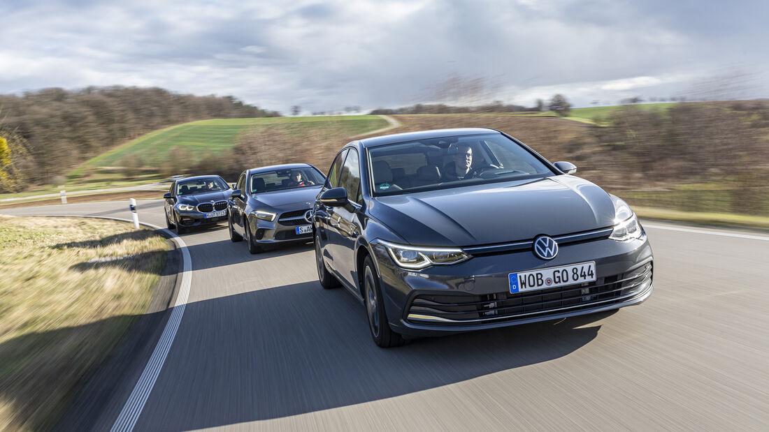 BMW 118d Sport Line, Mercedes A 200 d Progressive, VW Golf 2.0 TDI Style, Exterieur