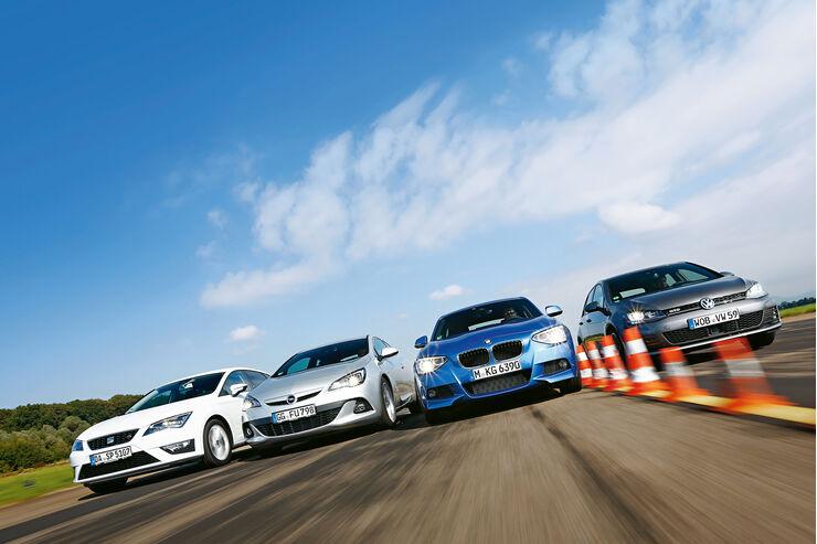 BMW 120d, Opel Astra GTC Biturbo CDTI, Seat Leon FR 2.0 TDI, VW Golf GTD, Front
