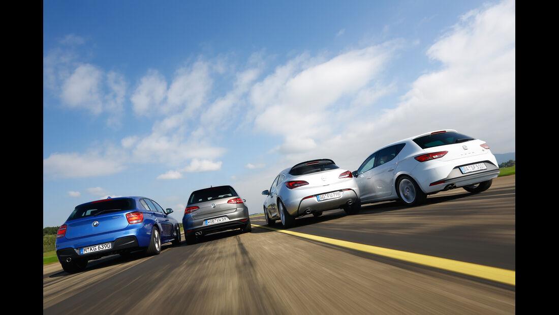 BMW 120d, Opel Astra GTC Biturbo CDTI, Seat Leon FR 2.0 TDI, VW Golf GTD, Heck