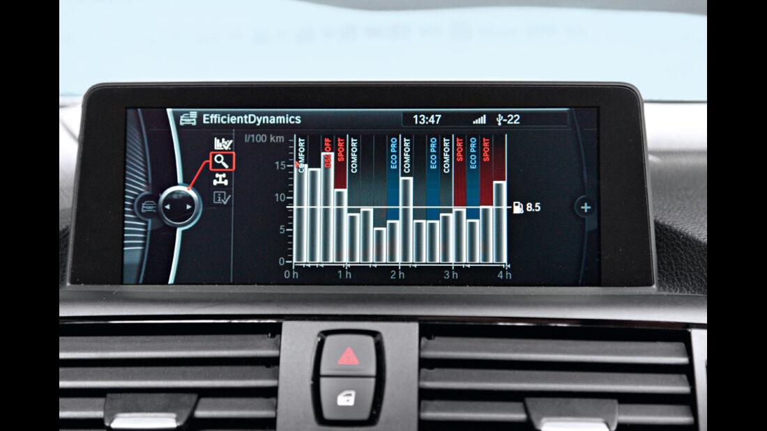 BMW 120d Sport Line, Display, Verbrauch