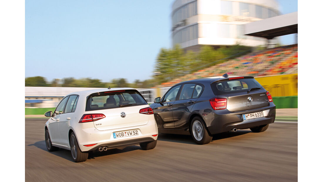 BMW 120d, VW Golf GTD, Heckansicht