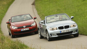 BMW 120i Cabrio, VW Golf Cabrio 1.4 TSI, Frontansicht, Front