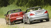 BMW 120i Cabrio, VW Golf Cabrio 1.4 TSI, Heck, Rückansicht