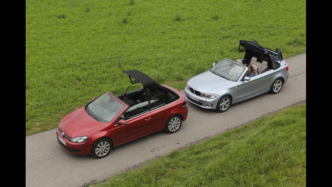 BMW 120i Cabrio, VW Golf Cabrio 1.4 TSI, Seitenansicht, Dach öffnet