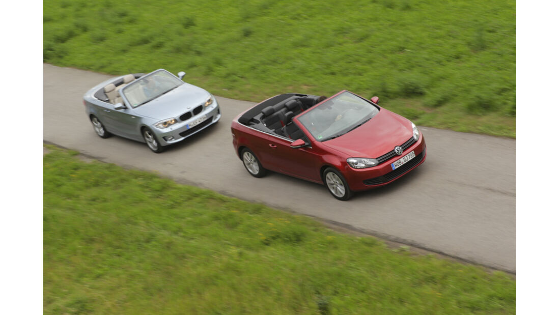 BMW 120i Cabrio, VW Golf Cabrio 1.4 TSI, Seitenansicht, Dach offen