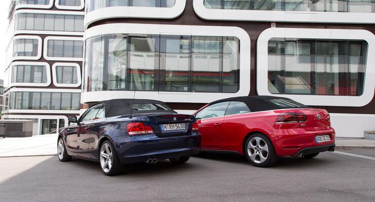 BMW 125i Cabrio, VW Golf GTI Cabrio, Heckansicht