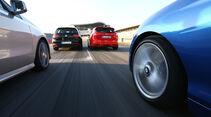 BMW 125i, Ford Focus ST, Mercedes A 250, VW Golf GTI, Fahrt