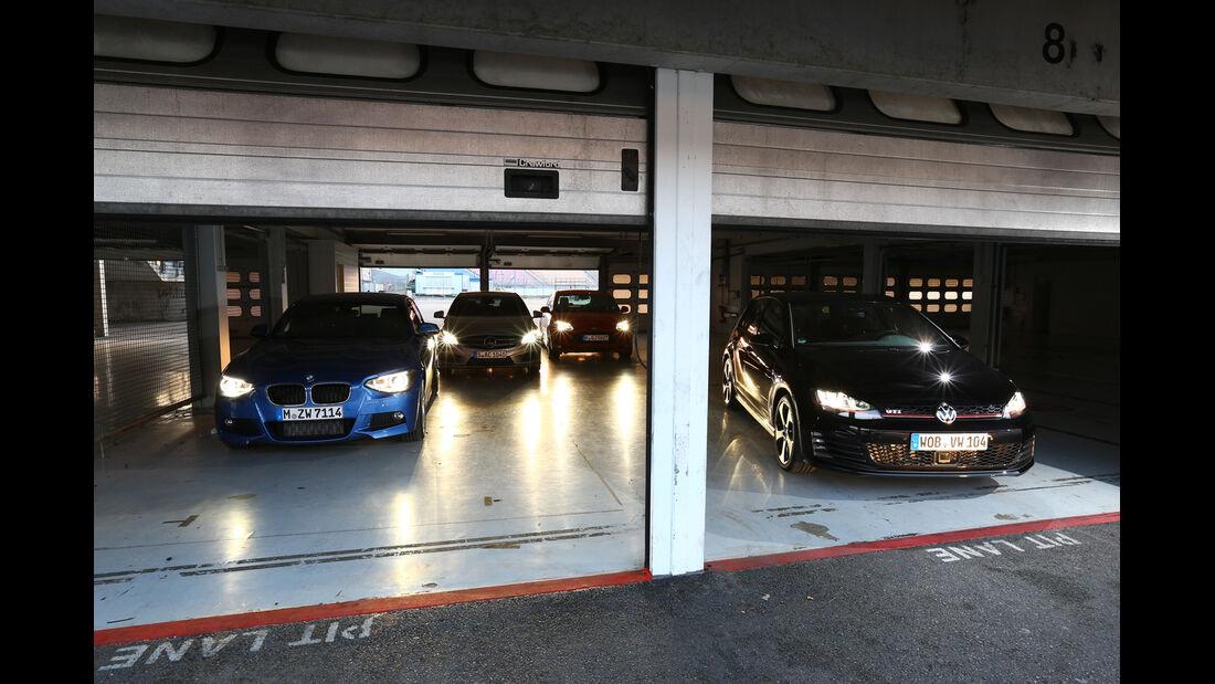 BMW 125i, Ford Focus ST, Mercedes A 250, VW Golf GTI, Garage