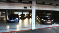 BMW 125i, Ford Focus ST, Mercedes A 250, VW Golf GTI, Garage