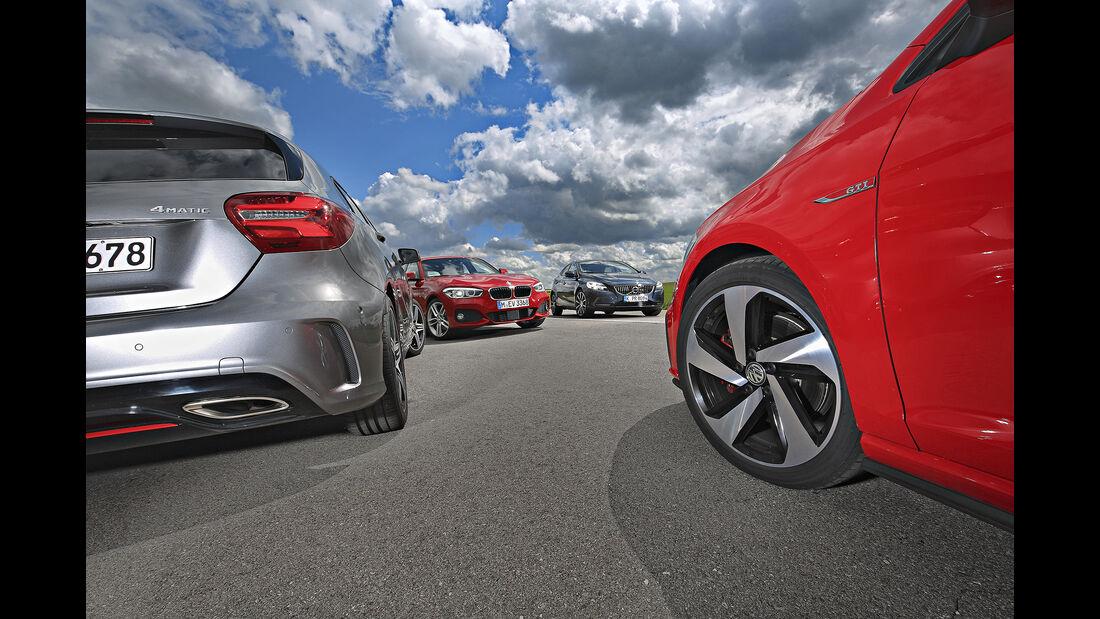 BMW 125i, Mercedes A 250, Volvo V40 T5, VW Golf GTI, Exterieur