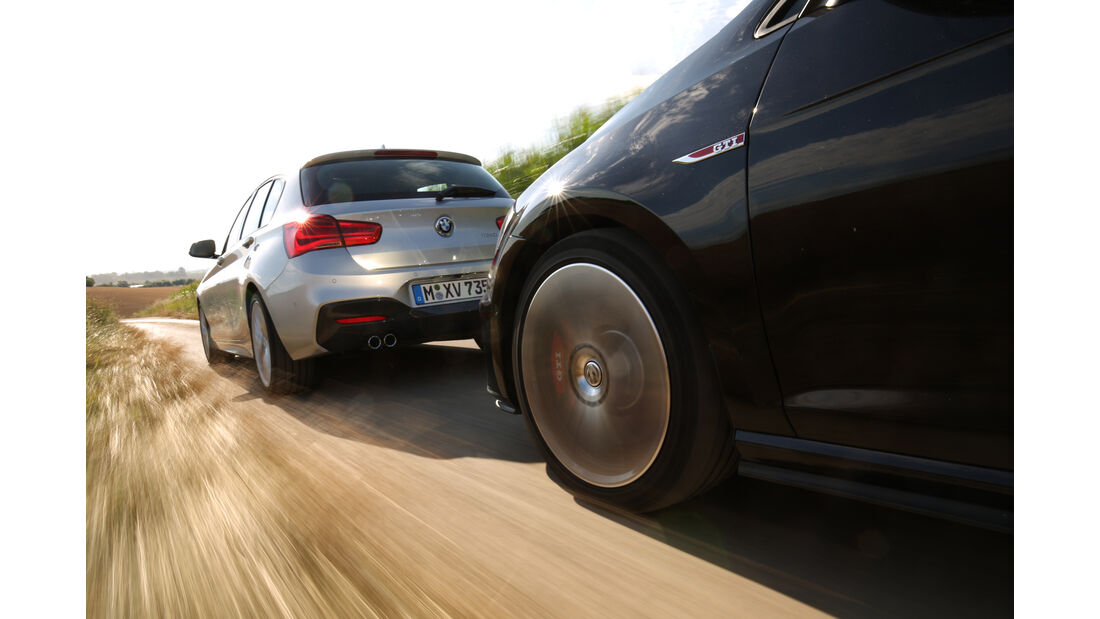 BMW 125i, VW Golf GTI, Heckansicht