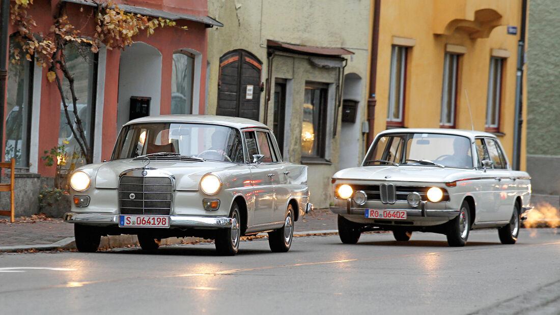 BMW 1800, Mercedes 200, Frontansicht