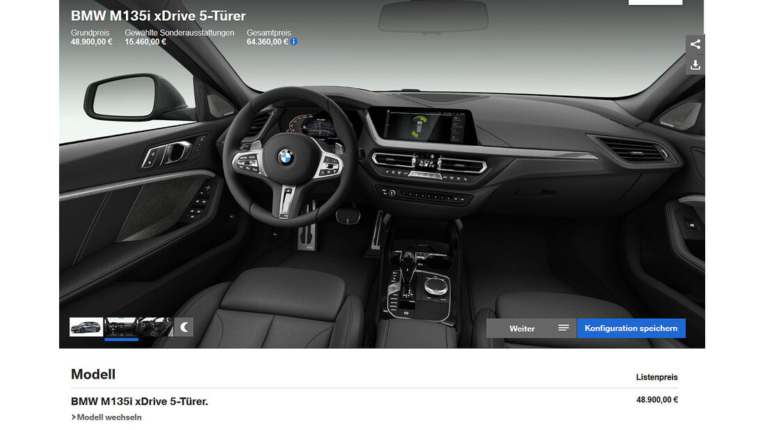BMW 1er (F40) M135i xDrive Konfigurator