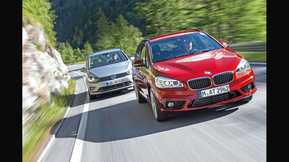 BMW 218d Active Tourer, VW Golf Sportsvan 2.0 TDI, Frontansicht