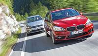 BMW 218d Active Tourer, VW Golf Sportsvan 2.0 TDI, Frontansicht