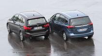 BMW 218d Gran Tourer, Opel Zafira Tourer 1.6 CDTI, Heckansicht