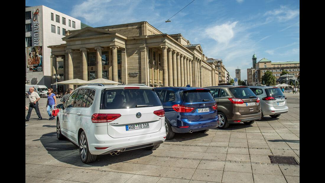 BMW 218i Gran Tourer, Ford Grand C-Max 1.5 Ecoboost, Opel Zafira 1.4 Turbo Exoflex, VW Touran 1.4 TSI