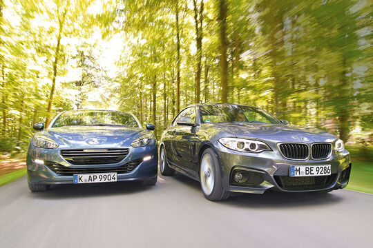 BMW 220d, Peugeot RCZ 2.0 HDi 160, Frontansicht