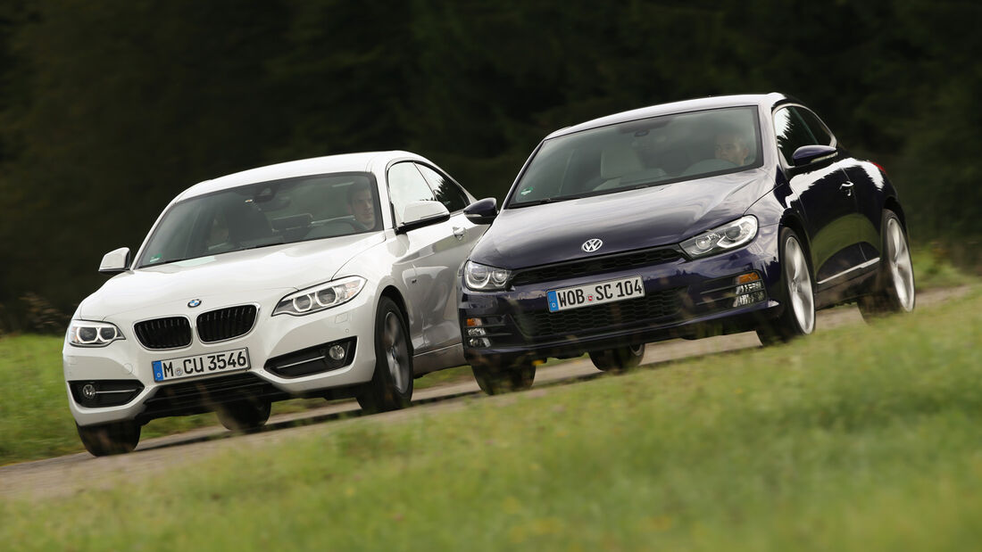 BMW 220i, VW Scirocco 2.0 TSI, Frontansicht