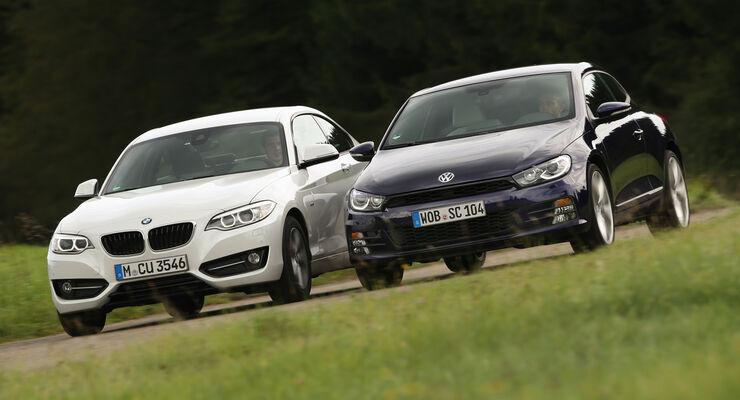 BMW 220i, VW Scirocco 2.0 TSI, Frontansicht