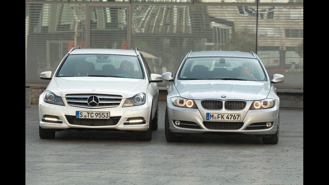 BMW 316d Touring, Mercedes C 180 CDI T Avantgarde, Front