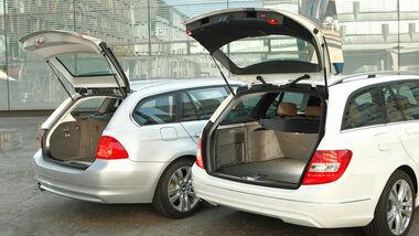 BMW 316d Touring, Mercedes C 180 CDI T Avantgarde, Kofferraumklappe