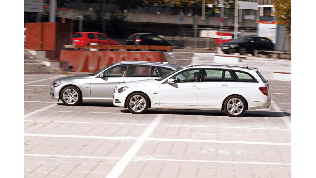 BMW 316d Touring, Mercedes C 180 CDI T Avantgarde, Seitenansicht