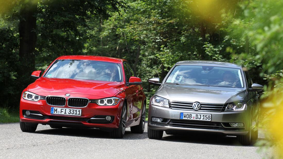 BMW 320d Automatik, VW Passat 2.0 TDI DSG, Frontansicht